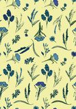 Romantic seamless vector pattern with blue wild flowers on pale background vector illustration
