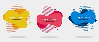 Abstract liquid shape. Modern abstract banner set. Flat geometric liquid form with various colors. Modern banner template. royalty free illustration