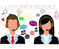 Customer service icon in flat design stock images
