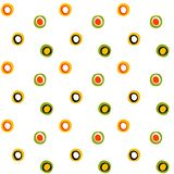 Seamless surface folk circles and spots pattern vector illustration