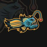 Angler Fish e sport logo royalty free illustration