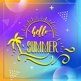Happy Summer Party 2019. Vector multicolored logo on dark blue background. Sun and handwritten inscription. royalty free illustration