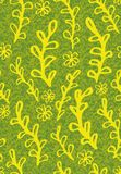 Seamless vector pattern with yellow plant and flowers doodles on textured background stock illustration