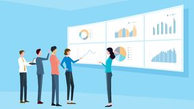 Flat illustrations business analytic team meeting and  finance project training. Concept vector illustration