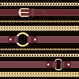 Leather belts and golden chains on  black background seamless pattern. royalty free illustration