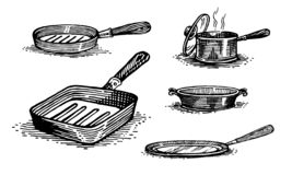 Pans, cooking pots, set of dishes. Healthy lifestyle, delicious products, a set of templates for menu design, restaurants and catering. Hand-drawn images, black royalty free illustration