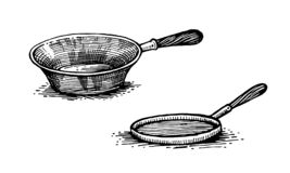 Pans, cooking pots, set of dishes. Healthy lifestyle, delicious products, a set of templates for menu design, restaurants and catering. Hand-drawn images, black vector illustration