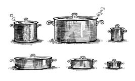 Pans, cooking pots, set of dishes. Healthy lifestyle, delicious products, a set of templates for menu design, restaurants and catering. Hand-drawn images, black stock illustration