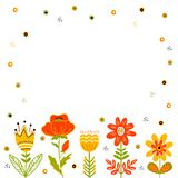 Folk style flower frame, background, surface vector illustration