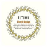 Autumn floral greenery poster, card design royalty free illustration