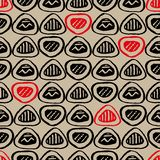 Seamless vector pattern with inked black and red rounded triangles royalty free illustration