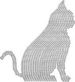 Awesome Cat. Cat design in words. Black color stock illustration