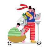 Two adults and two children ride a scooter. stock illustration