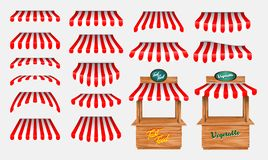 Set of awing with wooden market stand stall and various kiosk, with red and white striped awning isolated. Easy to modify vector illustration