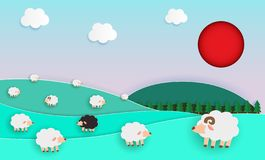 Herd of sheep on green pasture, Paper cut Style, elements of farming landscapes with sheep and natural pastel color scheme