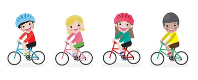 Happy kids on bicycles, Children riding bike,Kids riding bikes, Child riding bike, child on bicycle vector on white background,Ill royalty free illustration