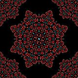 Red floral ornament seamless pattern on black background royalty free illustration