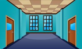 Cartoon school hallway with window and many doors stock illustration