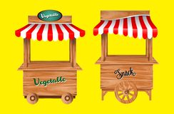 Set of awing with wooden market stand stall and various kiosk, with red and   white striped awning isolated. Set of awing with wooden market stand stall and vector illustration