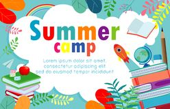 Summer camp education concept Template for advertising brochure, activities on camping , poster flyer template. Your text ,Vector Illustration vector illustration
