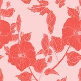 Floral seamless pattern. Hibiscus flowers, buds, various plants, foliage, royalty free stock photos