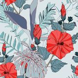 Tropical seamless pattern with blue leaves and red hibiscus flowers. Flat jungle print. stock images
