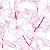 Tropical seamless pattern with exotic line gradient plants royalty free stock photo