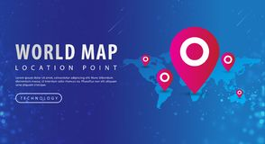 Map, world map and red pinpoint on location point stock illustration