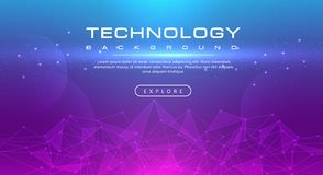 Technology banner line effects tech, pink blue background concept with light effects vector illustration