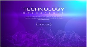 Technology banner line effects tech, purple background concept with light effects stock illustration