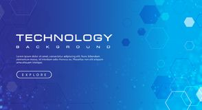 Technology banner blue sky background concept with light effects. Illustration vector royalty free illustration