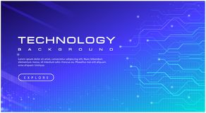 Technology banner blue sky background concept with light effects royalty free illustration