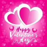Happy valentine day, valentine`s day two heart white and pink  with pink bokeh background. For graphic design stock illustration