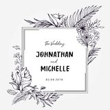 Hand drawn outlined wedding title template stock illustration
