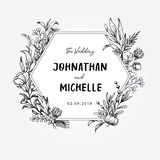 Hexagon hand drawn wedding template vector illustration