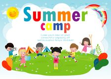 Kids summer camp education Template for advertising brochure, cute children doing activities on camping, boy scouts, poster flyer. Template, your text ,Vector vector illustration