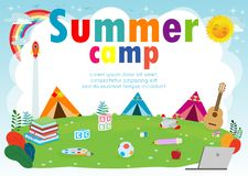 Kids summer camp education Template for advertising brochure, children doing activities on camping, summer camp kids poster flyer. Template, your text ,Vector stock illustration
