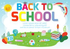 Back to school background poster. school supplies on the grass, welcome back to school banner ,Cute school kids.education concept, stock illustration