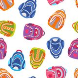 School backpacks seamless pattern. Vector Bright colored different bags royalty free illustration