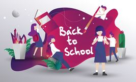 Back to school theme illustration with UI style royalty free illustration