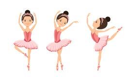 Ballerinas are dancing set. Cute girls kids dancers in pink tutu dress and pointe dance. vector illustration