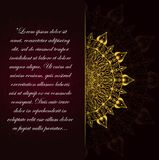 Golden vintage greeting card on a black background. stock illustration