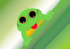 The frog is protruding of tongue and climbing on the green leaves. The frog is protruding of tongue and climbing on the green leaves of plant royalty free illustration