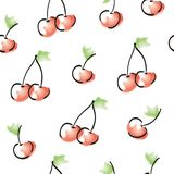 Vector seamless watercolour cherry pattern royalty free illustration