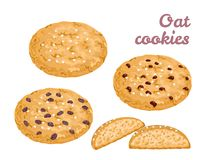 Oat cookies set. Fresh cereal healthy pastries stock illustration