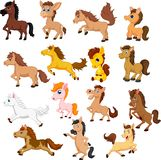 Set of cute cartoon horse isolated on a white background stock photos