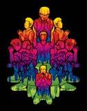 Group of People praying to God ,Prayer Unity cartoon graphic. Vector stock illustration