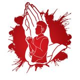 Man praying to God ,Prayer cartoon graphic. Vector stock illustration