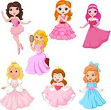 Set of cute cartoon princesses isolated on white background royalty free stock photos