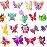 Set of cartoon butterflies on white background royalty free stock image